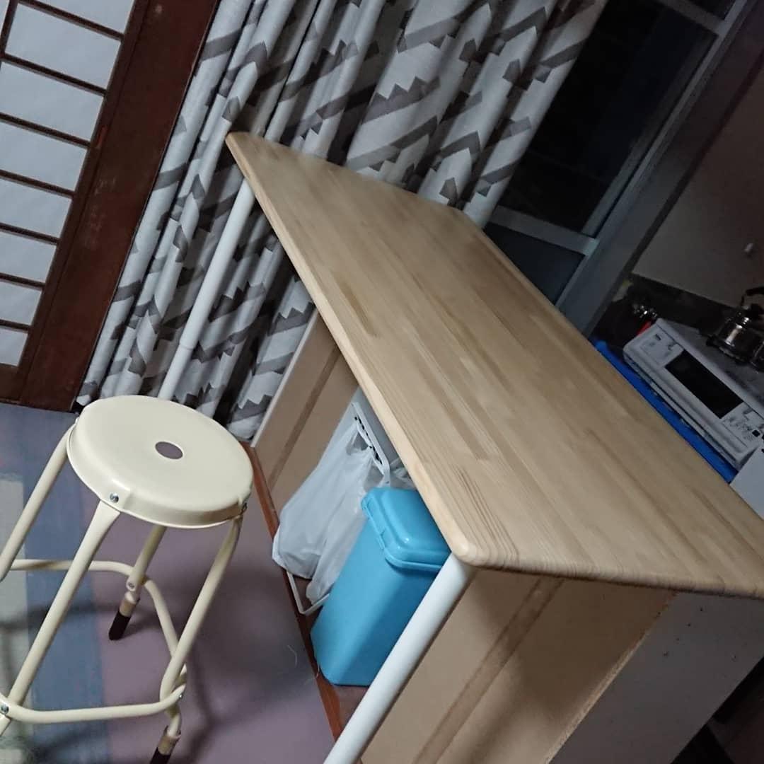 自作キッチン作業台兼でイニングテーブル